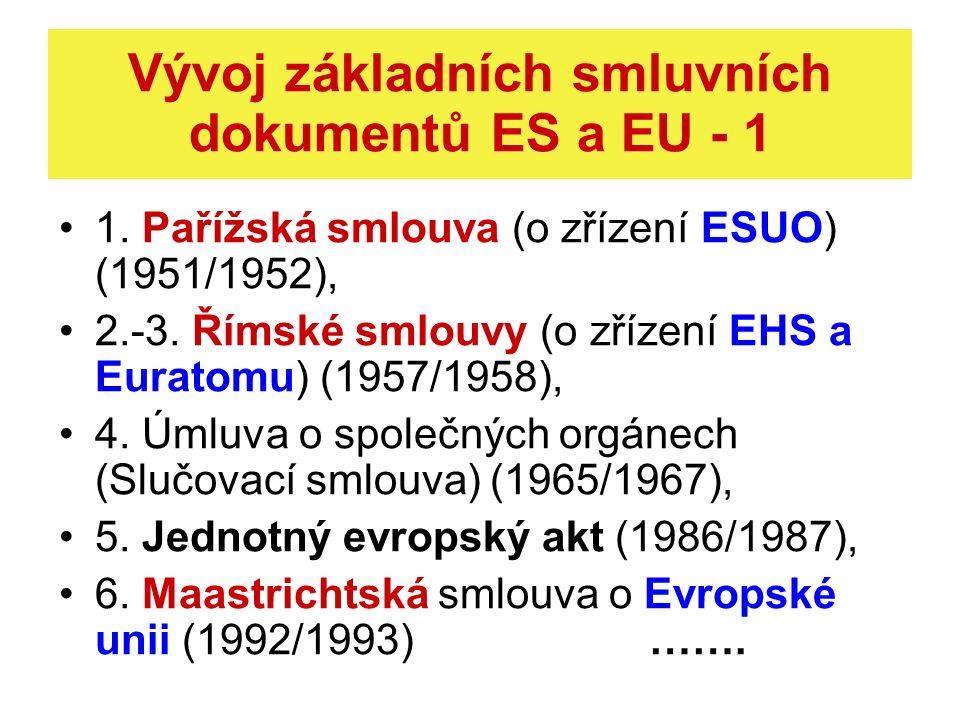 Vývoj základních smluvních dokumentů ES a EU - 1 1. Pařížská smlouva (o zřízení ESUO) (1951/1952), 2.-3. Římské smlouvy (o zřízení EHS a Euratomu) (19