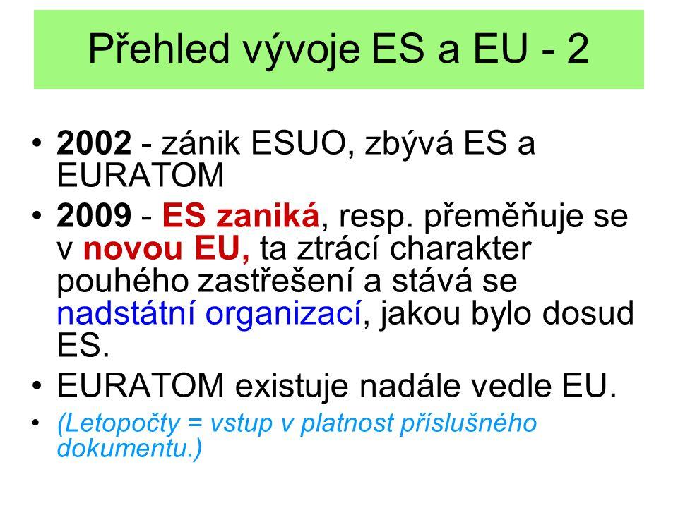 Přehled vývoje ES a EU - 2 2002 - zánik ESUO, zbývá ES a EURATOM 2009 - ES zaniká, resp. přeměňuje se v novou EU, ta ztrácí charakter pouhého zastřeše