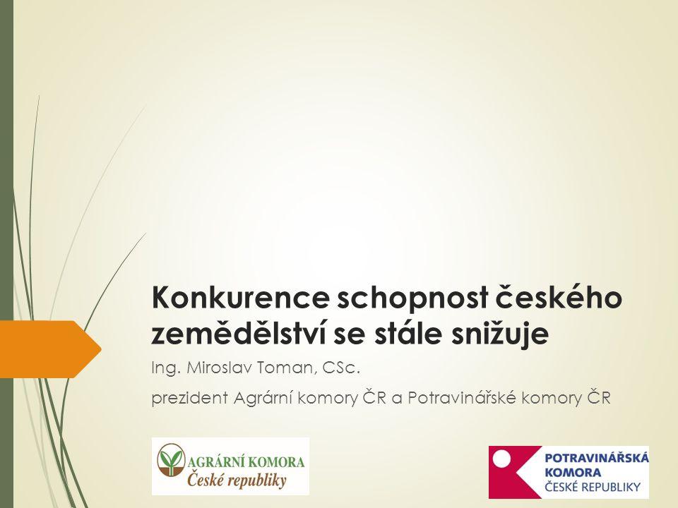 Konkurence schopnost českého zemědělství se stále snižuje Ing.