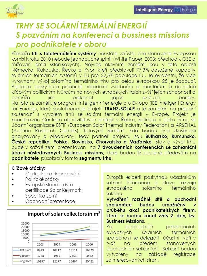 Přestože trh s fototermálními systémy neustále vzrůstá, cíle stanovené Evropskou komisí k roku 2010 nebude jednoduché splnit (White Paper, 2003: přechod k OZE a snižování emisí skleníkových).