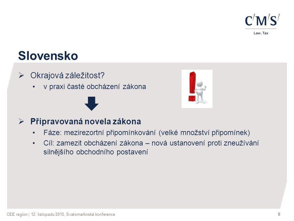 CEE region | 12. listopadu 2015, Svatomartinská konference88 Slovensko  Okrajová záležitost.