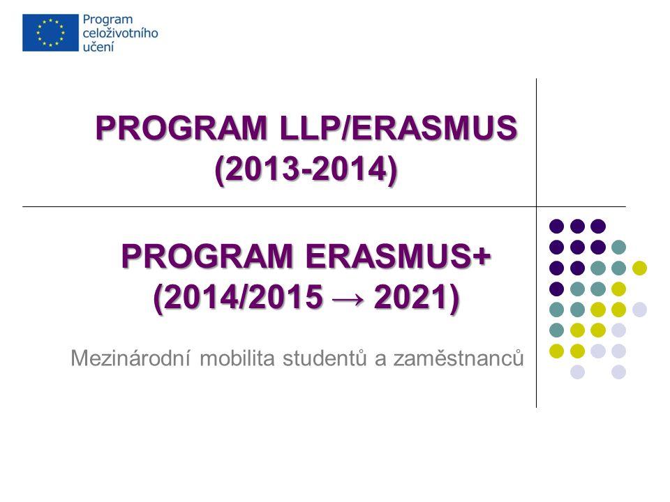 PROGRAM LLP/ERASMUS (2013-2014) PROGRAM ERASMUS+ (2014/2015 → 2021) Mezinárodní mobilita studentů a zaměstnanců