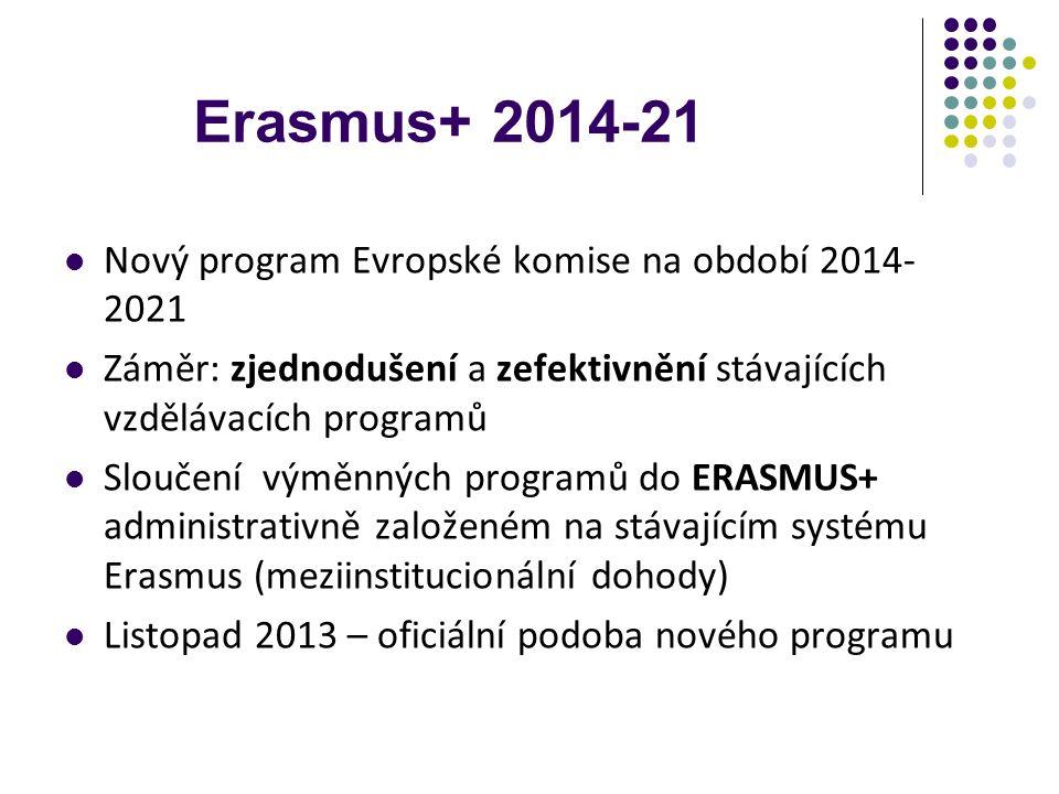 Nový program Evropské komise na období 2014- 2021 Záměr: zjednodušení a zefektivnění stávajících vzdělávacích programů Sloučení výměnných programů do