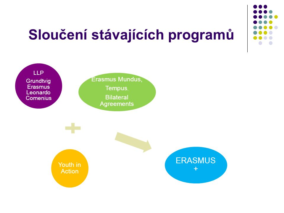 Sloučení stávajících programů LLP Grundtvig Erasmus Leonardo Comenius Erasmus Mundus, Tempus, Bilateral Agreements Youth in Action ERASMUS +