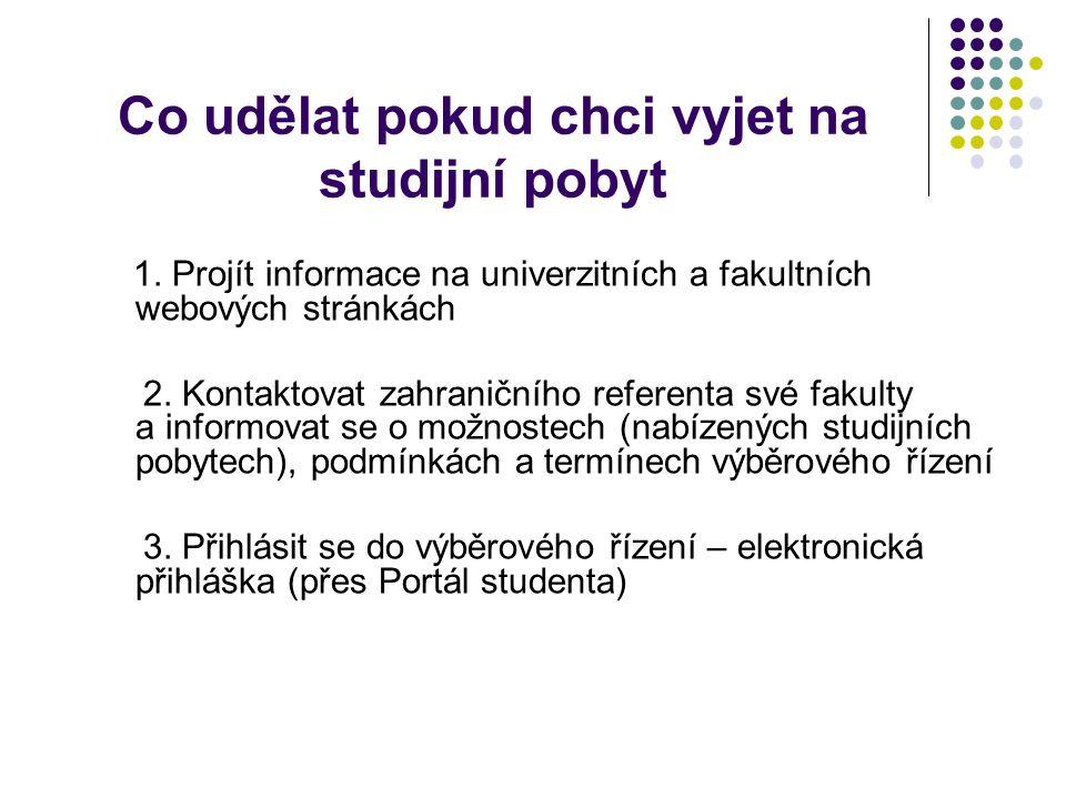 Co udělat pokud chci vyjet na studijní pobyt 1. Projít informace na univerzitních a fakultních webových stránkách 2. Kontaktovat zahraničního referent
