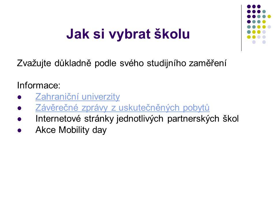 Jak si vybrat školu Zvažujte důkladně podle svého studijního zaměření Informace: Zahraniční univerzity Závěrečné zprávy z uskutečněných pobytů Internetové stránky jednotlivých partnerských škol Akce Mobility day