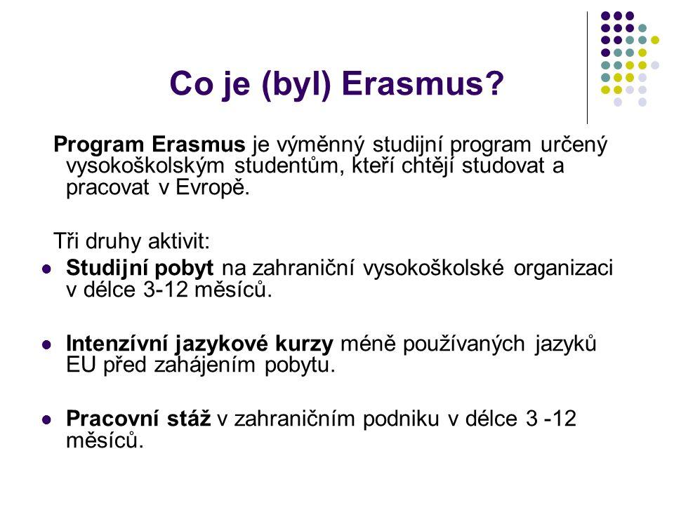 Co je (byl) Erasmus? Program Erasmus je výměnný studijní program určený vysokoškolským studentům, kteří chtějí studovat a pracovat v Evropě. Tři druhy