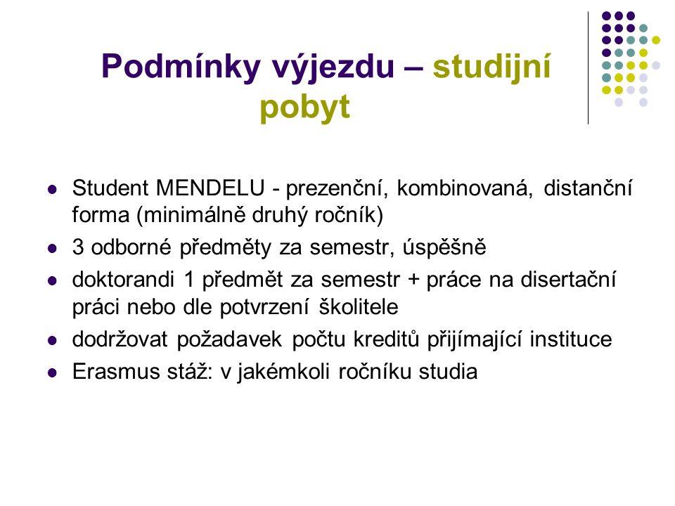Podmínky výjezdu – studijní pobyt Student MENDELU - prezenční, kombinovaná, distanční forma (minimálně druhý ročník) 3 odborné předměty za semestr, ús