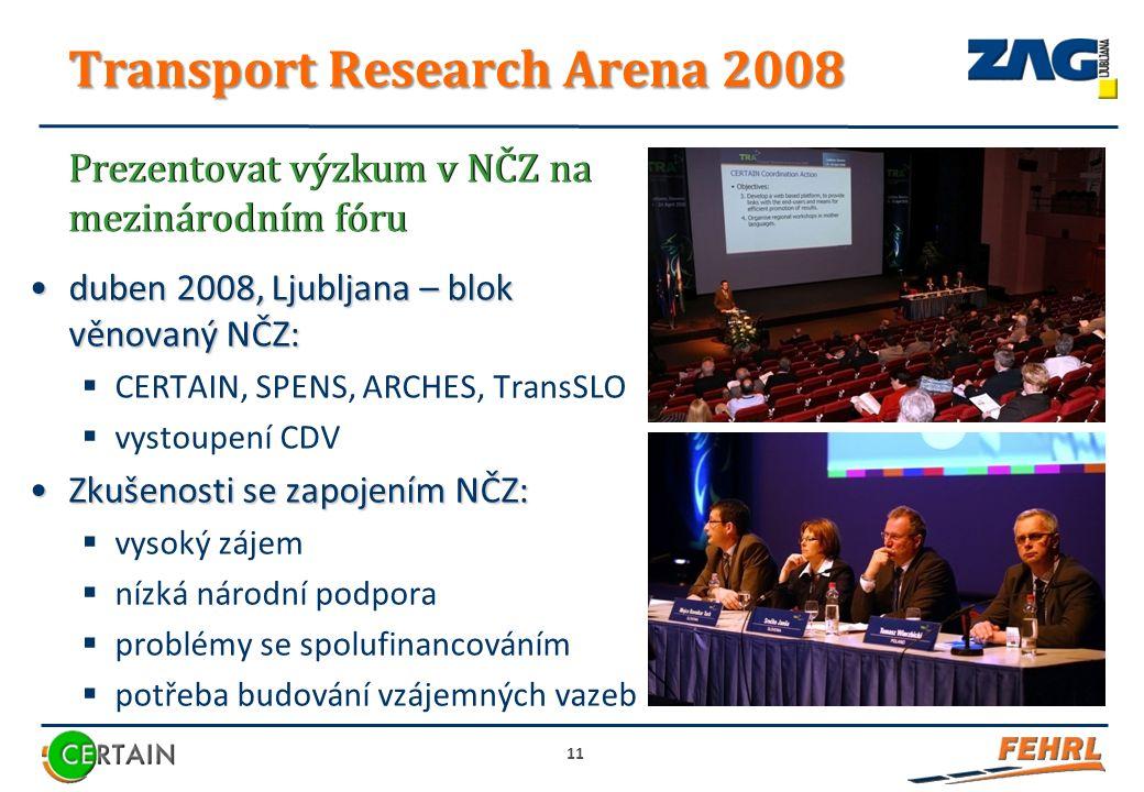 Transport Research Arena 2008 duben 2008, Ljubljana – blok věnovaný NČZ:duben 2008, Ljubljana – blok věnovaný NČZ:  CERTAIN, SPENS, ARCHES, TransSLO  vystoupení CDV Zkušenosti se zapojením NČZ:Zkušenosti se zapojením NČZ:  vysoký zájem  nízká národní podpora  problémy se spolufinancováním  potřeba budování vzájemných vazeb 11 Prezentovat výzkum v NČZ na mezinárodním fóru