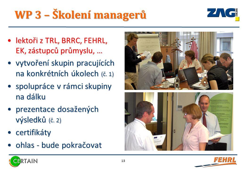 WP 3 – Školení managerů lektoři z TRL, BRRC, FEHRL, EK, zástupců průmyslu, …lektoři z TRL, BRRC, FEHRL, EK, zástupců průmyslu, … vytvoření skupin pracujících na konkrétních úkolech (č.