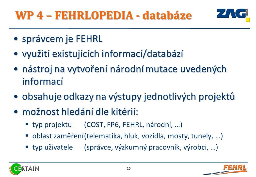 WP 4 – FEHRLOPEDIA - databáze správcem je FEHRLsprávcem je FEHRL využití existujících informací/databázívyužití existujících informací/databází nástroj na vytvoření národní mutace uvedených informacínástroj na vytvoření národní mutace uvedených informací obsahuje odkazy na výstupy jednotlivých projektůobsahuje odkazy na výstupy jednotlivých projektů možnost hledání dle kitérií:možnost hledání dle kitérií:  typ projektu(COST, FP6, FEHRL, národní, …)  oblast zaměření(telematika, hluk, vozidla, mosty, tunely, …)  typ uživatele (správce, výzkumný pracovník, výrobci, …) 15