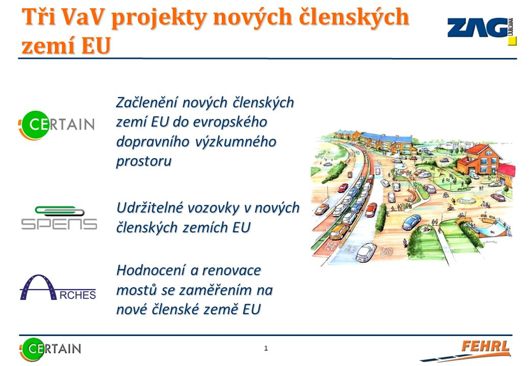 Začlenění nových členských zemí EU do evropského dopravního výzkumného prostoru Udržitelné vozovky v nových členských zemích EU Hodnocení a renovace mostů se zaměřením na nové členské země EU 1 Tři VaV projekty nových členských zemí EU