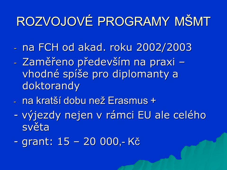 ROZVOJOVÉ PROGRAMY MŠMT - na FCH od akad. roku 2002/2003 - Zaměřeno především na praxi – vhodné spíše pro diplomanty a doktorandy - na kratší dobu než