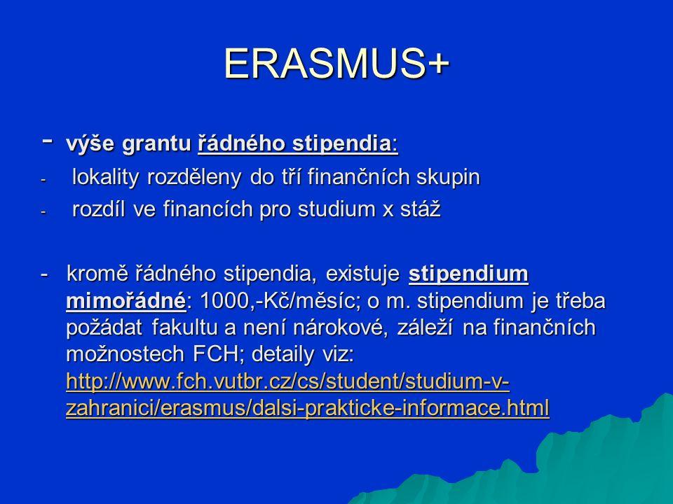 ERASMUS+ - výše grantu řádného stipendia: - lokality rozděleny do tří finančních skupin - rozdíl ve financích pro studium x stáž - kromě řádného stipendia, existuje stipendium mimořádné: 1000,-Kč/měsíc; o m.