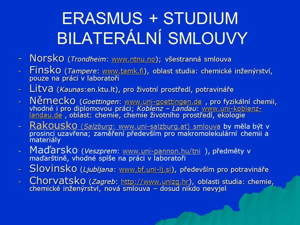 ERASMUS + STUDIUM BILATERÁLNÍ SMLOUVY - Norsko (Trondheim: www.ntnu.no); všestranná smlouva www.ntnu.no - Finsko (Tampere: www.tamk.fi), oblast studia