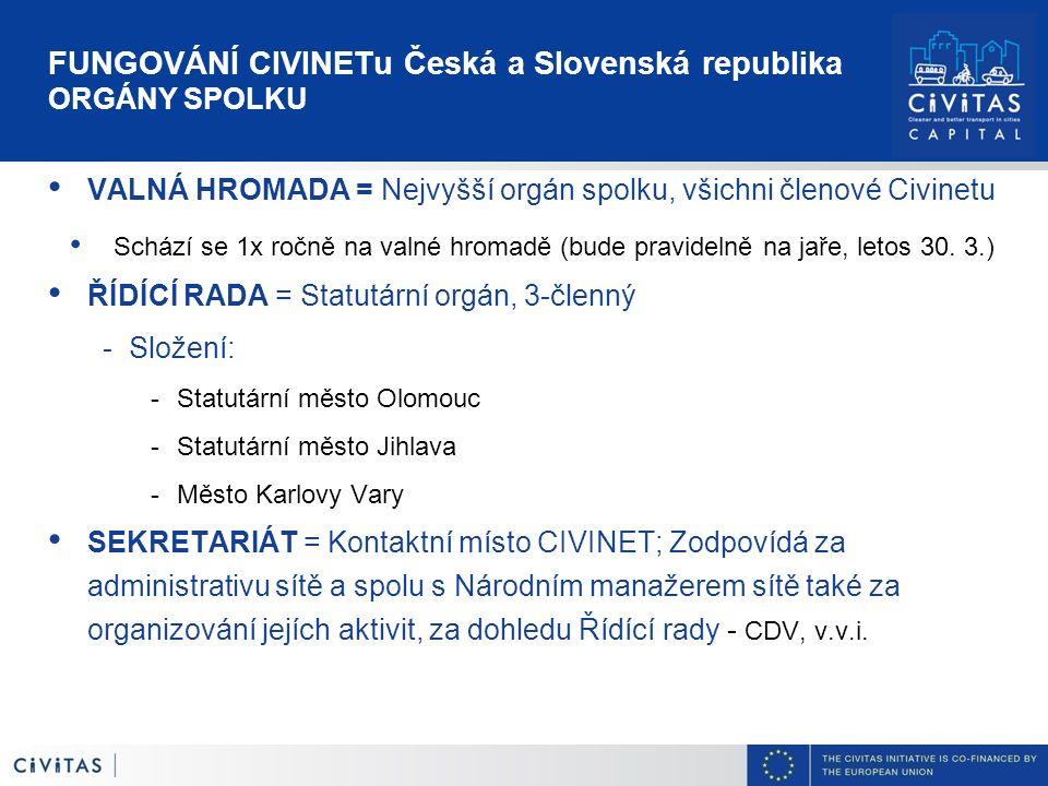 FUNGOVÁNÍ CIVINETu Česká a Slovenská republika ORGÁNY SPOLKU VALNÁ HROMADA = Nejvyšší orgán spolku, všichni členové Civinetu Schází se 1x ročně na val