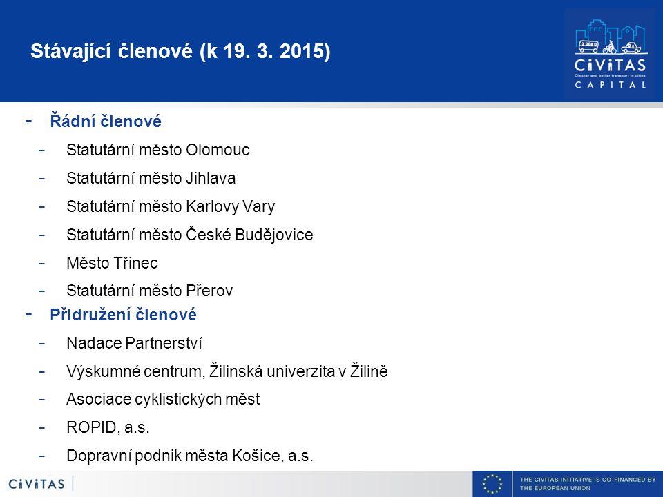 Stávající členové (k 19. 3. 2015) - Řádní členové - Statutární město Olomouc - Statutární město Jihlava - Statutární město Karlovy Vary - Statutární m