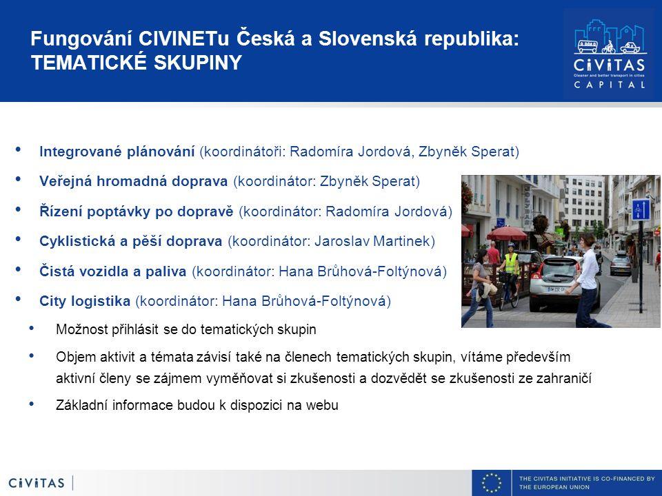 Fungování CIVINETu Česká a Slovenská republika: TEMATICKÉ SKUPINY Integrované plánování (koordinátoři: Radomíra Jordová, Zbyněk Sperat) Veřejná hromad