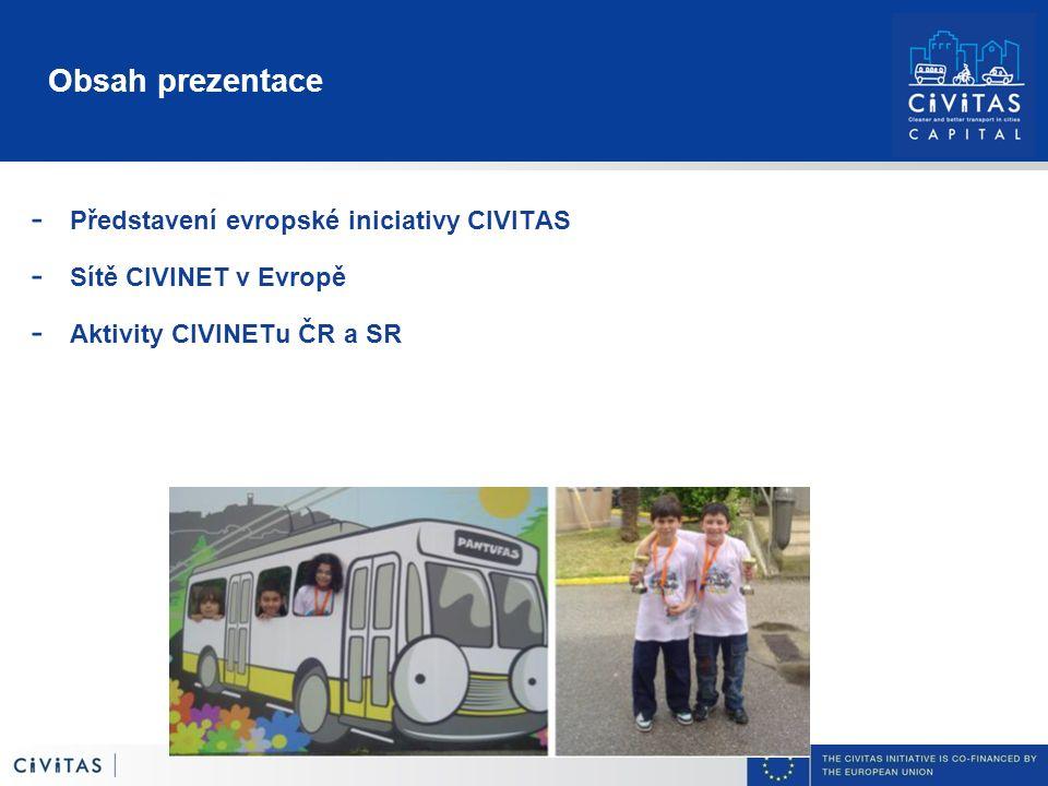 Obsah prezentace - Představení evropské iniciativy CIVITAS - Sítě CIVINET v Evropě - Aktivity CIVINETu ČR a SR