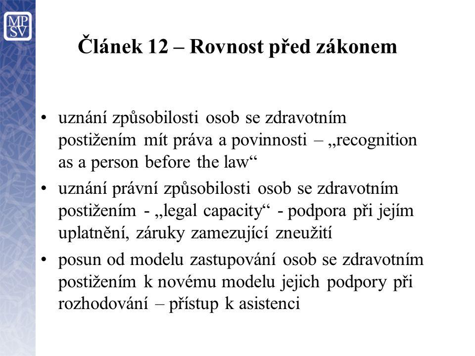 """Článek 12 – Rovnost před zákonem uznání způsobilosti osob se zdravotním postižením mít práva a povinnosti – """"recognition as a person before the law uznání právní způsobilosti osob se zdravotním postižením - """"legal capacity - podpora při jejím uplatnění, záruky zamezující zneužití posun od modelu zastupování osob se zdravotním postižením k novému modelu jejich podpory při rozhodování – přístup k asistenci"""