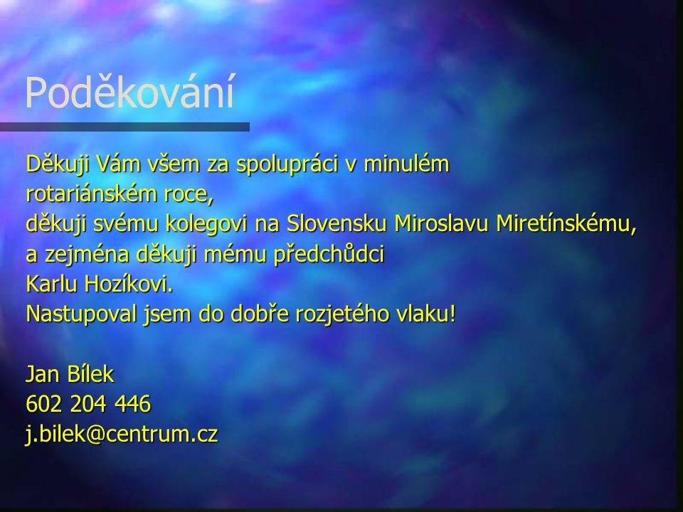 Poděkování Děkuji Vám všem za spolupráci v minulém rotariánském roce, děkuji svému kolegovi na Slovensku Miroslavu Miretínskému, a zejména děkuji mému předchůdci Karlu Hozíkovi.