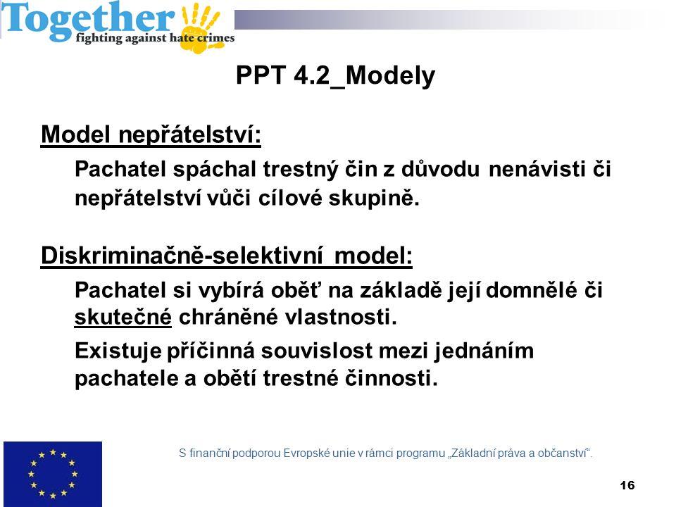 PPT 4.2_Modely Model nepřátelství: Pachatel spáchal trestný čin z důvodu nenávisti či nepřátelství vůči cílové skupině.
