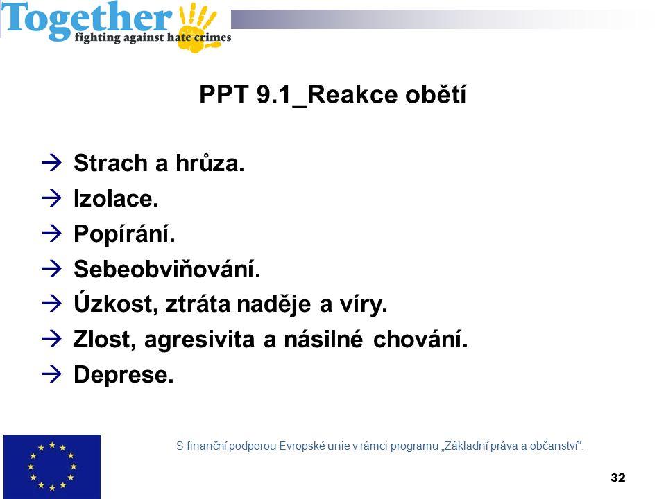 PPT 9.1_Reakce obětí  Strach a hrůza.  Izolace.