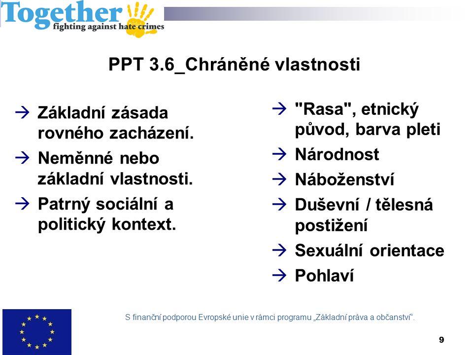 9 PPT 3.6_Chráněné vlastnosti  Základní zásada rovného zacházení.