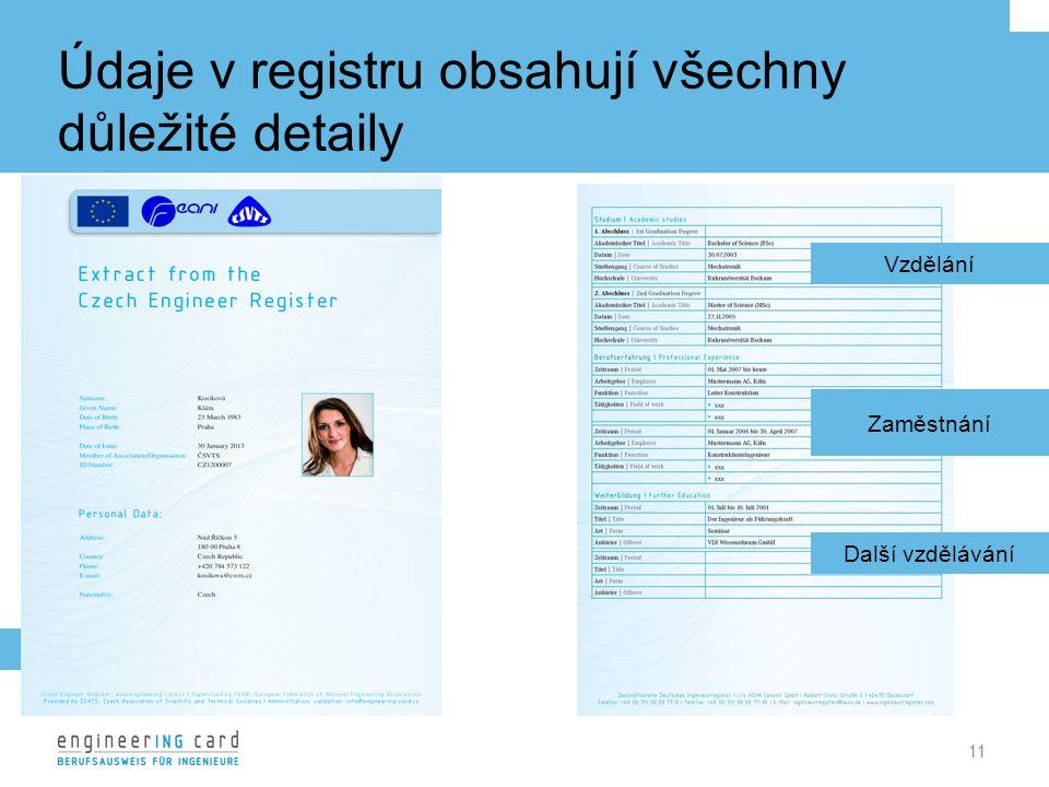 Údaje v registru obsahují všechny důležité detaily 11 Vzdělání Zaměstnání Další vzdělávání Osobní údaje