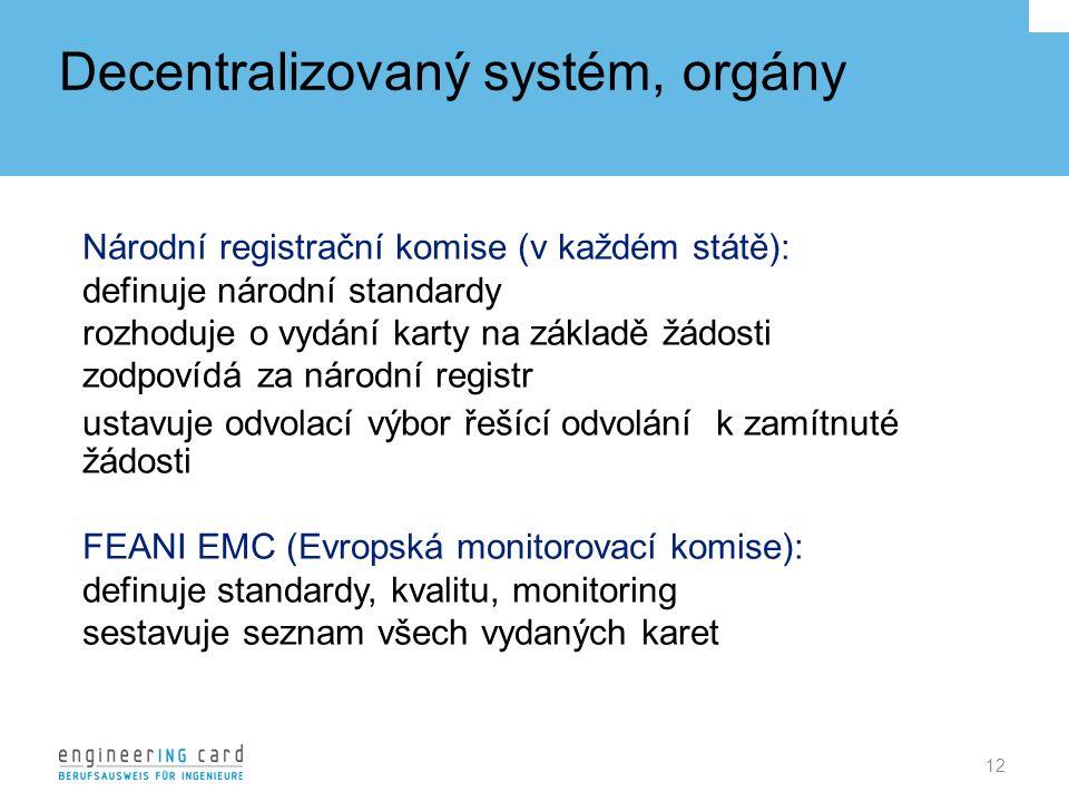 Decentralizovaný systém, orgány 12 Národní registrační komise (v každém státě): definuje národní standardy rozhoduje o vydání karty na základě žádosti zodpovídá za národní registr ustavuje odvolací výbor řešící odvolání k zamítnuté žádosti FEANI EMC (Evropská monitorovací komise): definuje standardy, kvalitu, monitoring sestavuje seznam všech vydaných karet