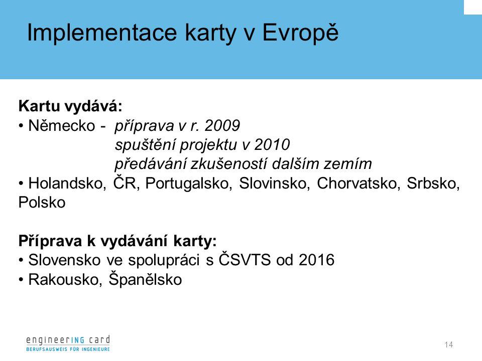 Implementace karty v Evropě 14 Kartu vydává: Německo - příprava v r.