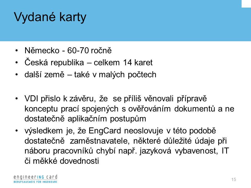 Vydané karty Německo - 60-70 ročně Česká republika – celkem 14 karet další země – také v malých počtech VDI přislo k závěru, že se příliš věnovali přípravě konceptu prací spojených s ověřováním dokumentů a ne dostatečně aplikačním postupům výsledkem je, že EngCard neoslovuje v této podobě dostatečně zaměstnavatele, některé důležité údaje při náboru pracovníků chybí např.