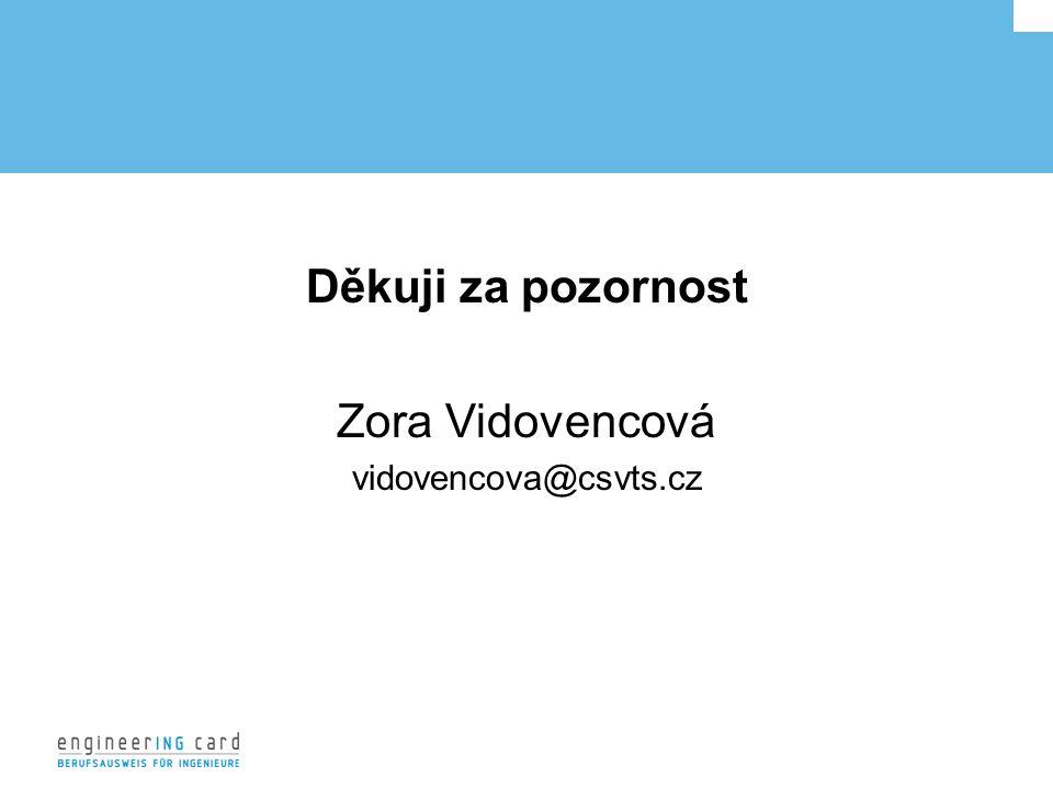 Děkuji za pozornost Zora Vidovencová vidovencova@csvts.cz