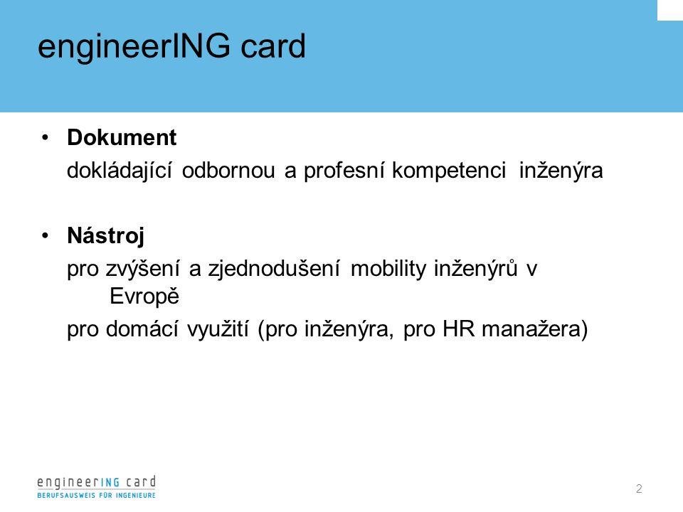engineerING card Dokument dokládající odbornou a profesní kompetenci inženýra Nástroj pro zvýšení a zjednodušení mobility inženýrů v Evropě pro domácí využití (pro inženýra, pro HR manažera) 2