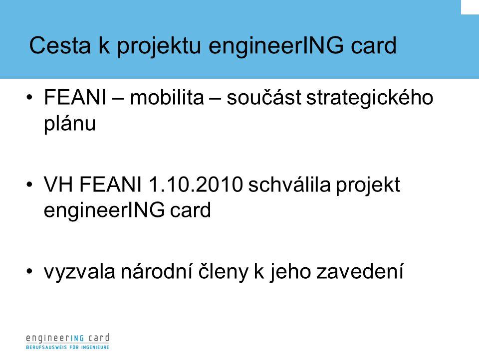 Cesta k projektu engineerING card FEANI – mobilita – součást strategického plánu VH FEANI 1.10.2010 schválila projekt engineerING card vyzvala národní členy k jeho zavedení