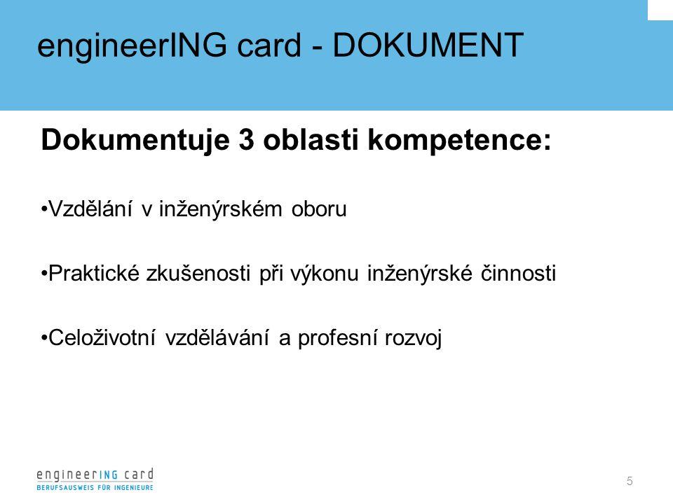 engineerING card - DOKUMENT Dokumentuje 3 oblasti kompetence: Vzdělání v inženýrském oboru Praktické zkušenosti při výkonu inženýrské činnosti Celoživotní vzdělávání a profesní rozvoj 5