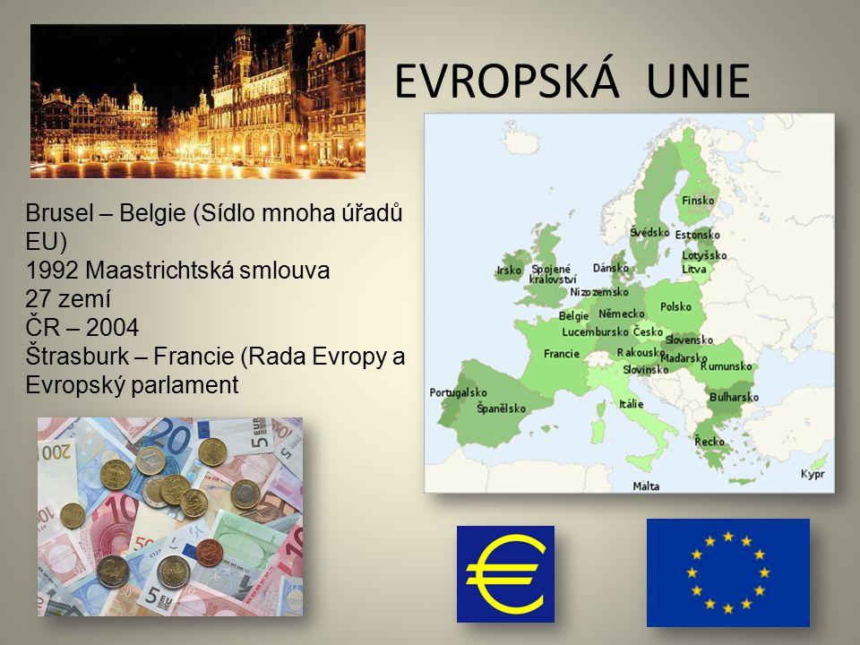 EVROPSKÁ UNIE Brusel – Belgie (Sídlo mnoha úřadů EU) 1992 Maastrichtská smlouva 27 zemí ČR – 2004 Štrasburk – Francie (Rada Evropy a Evropský parlamen