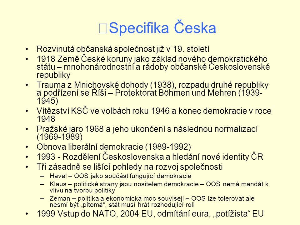 Specifika Česka Rozvinutá občanská společnost již v 19.