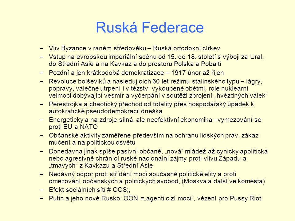 Ruská Federace –Vliv Byzance v raném středověku – Ruská ortodoxní církev –Vstup na evropskou imperiální scénu od 15.