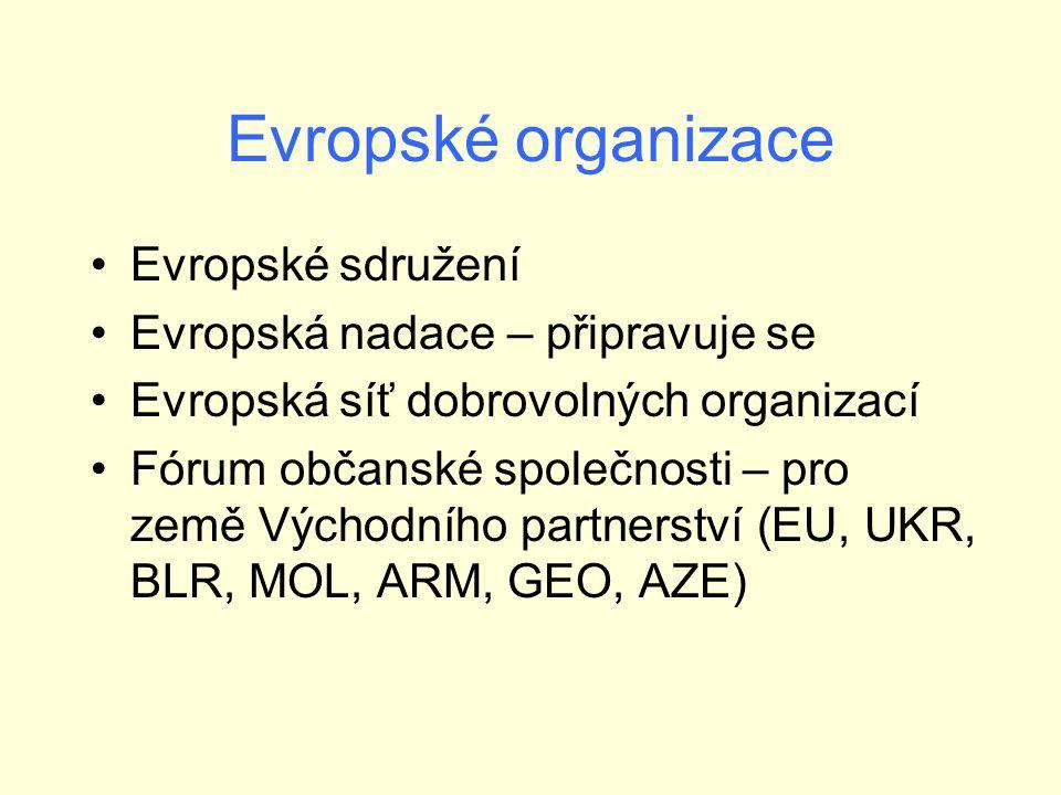 Evropské organizace Evropské sdružení Evropská nadace – připravuje se Evropská síť dobrovolných organizací Fórum občanské společnosti – pro země Východního partnerství (EU, UKR, BLR, MOL, ARM, GEO, AZE)