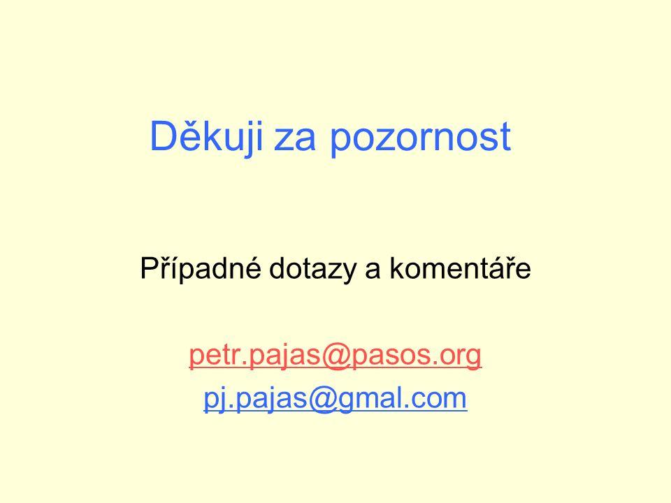 Děkuji za pozornost Případné dotazy a komentáře petr.pajas@pasos.org pj.pajas@gmal.com