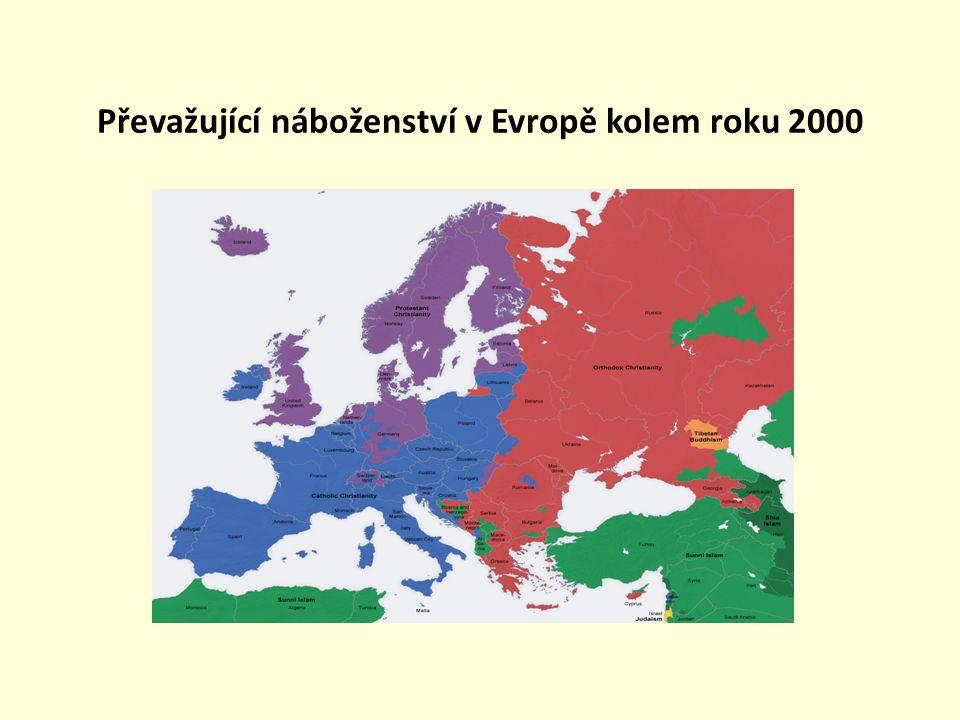 Převažující náboženství v Evropě kolem roku 2000