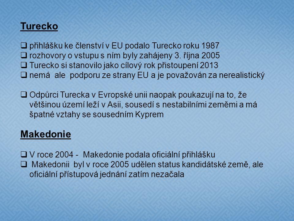 Kandidátské země Chorvatsko  stalo se kandidátskou zemí v roce 2004  Evropská unie s ním zahájila přístupová jednání 3. října 2005  Neochota Chorva