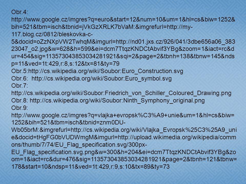 Použité zdroje: Obr.1:http://www.google.cz/imgres q=mapa+evropsk%C3%A1+unie&um=1&hl=cs& biw=1252&bih=521&tbm=isch&tbnid=CaDKOzAACKn6MM:&imgrefurl=http://cz.123rf.com/photo_3070259_kontinent-evropa-mapu-s-eu-hv-zd-3d-hran--symbolick-- ilustrace-evropsk--unie.html&docid=VhNqQV- VeloYnM&imgurl=http://us.123rf.com/400wm/400/400/thorsten/thorsten0805/thorsten 080500081/3070259-kontinent-evropa-mapu-s-eu-hv-zd-3d-hran--symbolick-- ilustrace-evropsk-- unie.jpg&w=400&h=400&ei=Msa7TqDrE4zDswbjoNzmBg&zoom=1&iact=rc&dur=45 3&sig=113573043853034281921&page=5&tbnh=136&tbnw=136&start=46&ndsp=10 &ved=1t:429,r:7,s:46&tx=90&ty=55 Obr.2: http://cs.wikipedia.org/wiki/Soubor:Eurozone.svg Obr.3: http://www.google.cz/imgres q=euro&num=10&um=1&hl=cs&biw=1252&bih=521&tb m=isch&tbnid=oFnEzu1H1_5fLM:&imgrefurl=http://www.statnivlajky.cz/mena/euro&d ocid=645NrDI_MW2kcM&imgurl=http://www.statnivlajky.cz/data/currency/eur/euro- coins-and- banknotes.jpg&w=2272&h=1704&ei=dMm7TvyKGsWSswbbkMEw&zoom=1&iact=rc &dur=385&sig=113573043853034281921&sqi=2&page=1&tbnh=134&tbnw=176&sta rt=0&ndsp=12&ved=1t:429,r:5,s:0&tx=64&ty=27