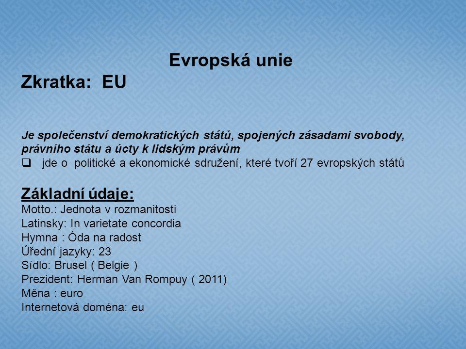 Evropská měnová unie EMU  Sedmnáct zemí EU je členy eurozóny – to znamená, platí společná měna euro  Belgie, Estonsko, Finsko, Francie, Irsko, Itálie, Kypr, Lucembursko, Malta, Německo, Nizozemsko, Portugalsko, Rakousko, Řecko, Slovensko, Slovinsko a Španělsko Česká republika a EU  podala žádost o členství v EU 17.1.1996  datem vstupu byl 1.