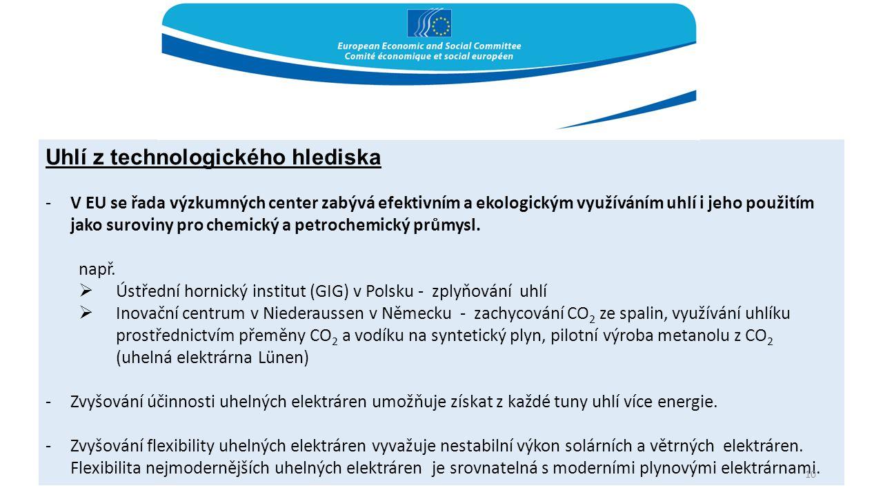 Uhlí z technologického hlediska -V EU se řada výzkumných center zabývá efektivním a ekologickým využíváním uhlí i jeho použitím jako suroviny pro chemický a petrochemický průmysl.