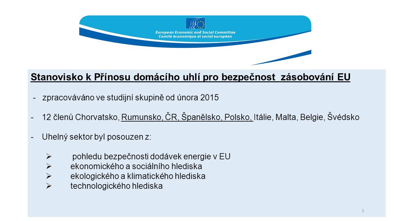 Stanovisko k Přínosu domácího uhlí pro bezpečnost zásobování EU - zpracováváno ve studijní skupině od února 2015 -12 členů Chorvatsko, Rumunsko, ČR, Španělsko, Polsko, Itálie, Malta, Belgie, Švédsko -Uhelný sektor byl posouzen z:  pohledu bezpečnosti dodávek energie v EU  ekonomického a sociálního hlediska  ekologického a klimatického hlediska  technologického hlediska 3