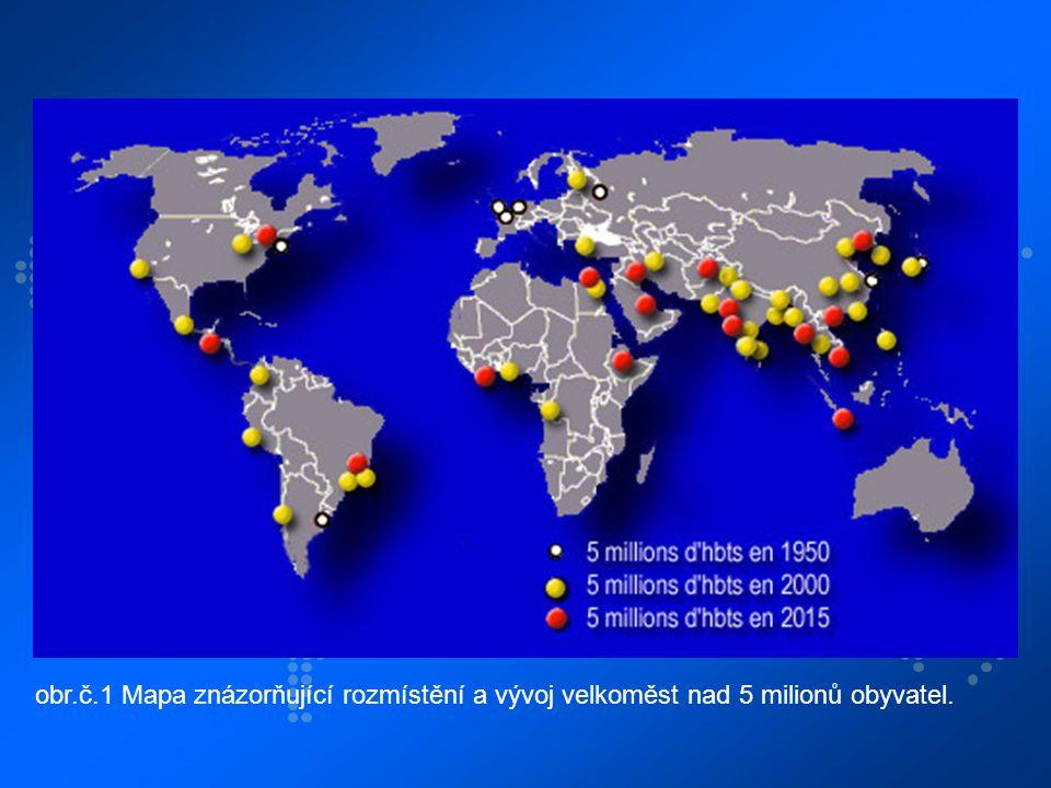obr.č.1 Mapa znázorňující rozmístění a vývoj velkoměst nad 5 milionů obyvatel.