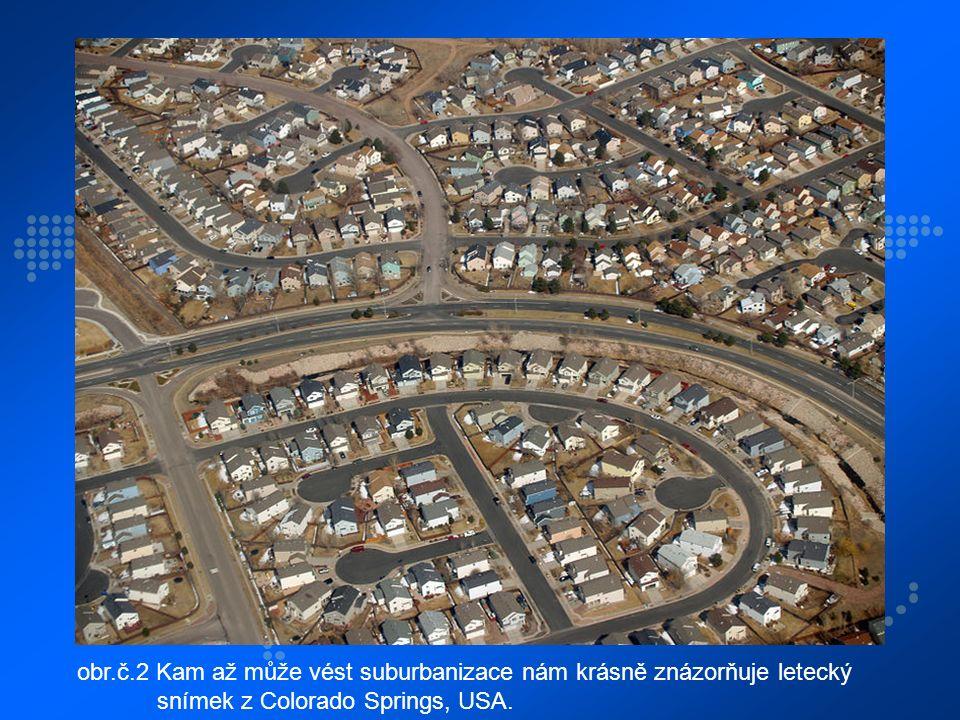 obr.č.2 Kam až může vést suburbanizace nám krásně znázorňuje letecký snímek z Colorado Springs, USA.