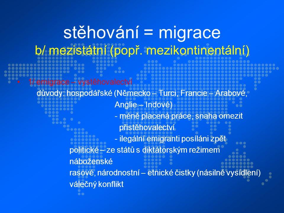stěhování = migrace b/ mezistátní (popř.